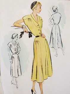 50s Dress Pattern McCall 8378 Day Or Cocktail Party Dress Shawl Neck Draped Features Bust 32 Vintage Sewing Pattern