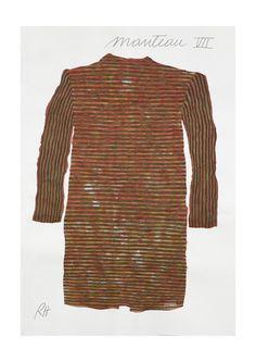 Manteau VII [ 2014 ] / Encre sur papier coton / 120 x 82 cm / Rose Holzer Bell Sleeves, Bell Sleeve Top, Rose, Art, Fashion, Coats, Atelier, Art Background, Moda