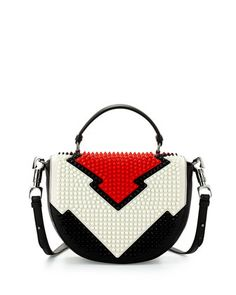 Christian Louboutin Panettone Spiked Messenger Bag, Red/White/Black from Bergdorf Goodman. Saved to It's In The Bag. Christian Louboutin, Printed Bags, Zipper Bags, Beautiful Bags, My Bags, Tote Handbags, Evening Bags, Clutch Bag, Neiman Marcus