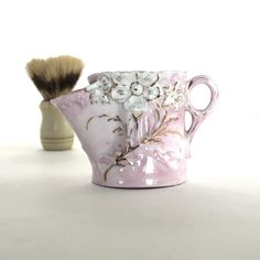 Antique Shaving Scuttle Mug with Embossed Flowers by Hallingtons, $39.95