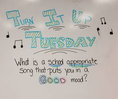 The kiddos loved Turn it Up Tuesday! Thanks @heaven_in_7th for the idea! #miss5thswhiteboard