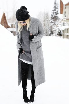 Look stylish in the dead of winter with a tonal grey look.