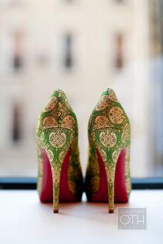 Pink and green patterned heels AKA 1908 #followprettypearlsinc