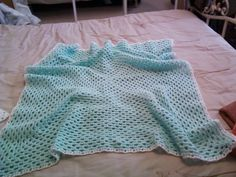 Mint baby blankie made by mum