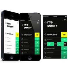 Weather app concept by Rafał Wójtowicz, via Behance