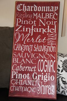 Wine Lovers Painted Wood Sign Typography Subway Style Art. $40.00, via Etsy.