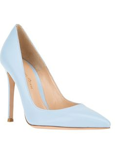 GIANVITO ROSSI Classic Pointed Toe Pump Something Blue for the Bride! Beautiful! I would just sprinkle crystals around the entire shoe. Would want everyone to see the beautiful blue of this shoe. :-)