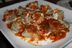 Mantu- one of my favorite foods from Afghanistan (pot stickers with lentil sauce)