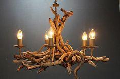 Driftwood Chandelier,5 light Chandelier, Drift Wood light,adjustable chain,Large £300.00
