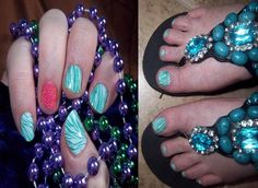 My Jamicure for Travis and Hollie wedding. Mint and Emerald Tiger with Wild Elephant acccent nail. http://lorirarmstrong.jamberrynails.net/