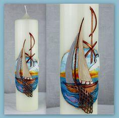 Taufkerze Fischerboot DW 347 von Kerzenkunst - Kreatiwita auf DaWanda.com