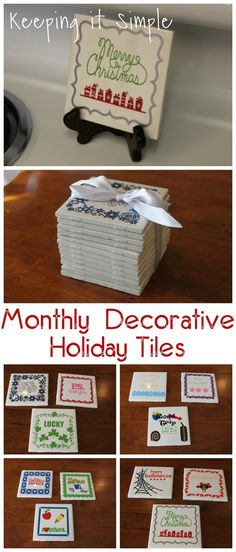 4x4 Monthly Decorative Holiday Tiles- perfect for a gift.