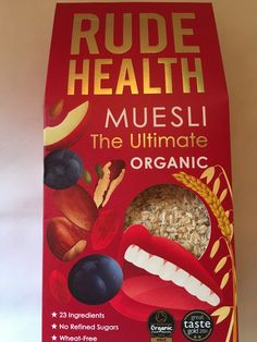 Rude Health Muesli The Ultimate Rude Health Muesli The Ultimate is organic and combines 23 ingredients to produce a wonderful muesli that contains no refined sugars and is wheat-free. Each spoonful you eat will taste different and will be high in fibre. Ingredients Oats, Rye Flakes, Raisins, Sultanas, Barely Flakes, Apricots, Almonds, Brazil Nuts, Dates, Golden Linseeds, Pumpkin Seeds, Sunflowers Seeds, Cranberries, Quinoa Flakes, Apple, Buckwheat Flakes, Goji Berries, Hazelnuts, Puffed…