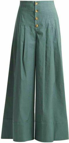Sea Bernadette High Rise Wide Leg Trousers - Womens - Khaki Button trousers outfit ideas for women. Stylish Dress Designs, Designs For Dresses, Stylish Dresses, Funky Dresses, Kurta Designs, Blouse Designs, Fashion Pants, Fashion Outfits, Emo Fashion
