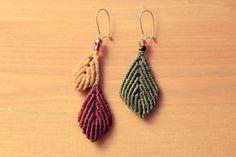 macrame earrings • leaves • boho • earth tones