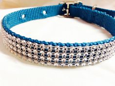 Adjustable  Silver Rhinestone  Holiday Dog Collar. by DogFabulous