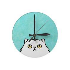 Grumpy Cat - white persian Round Wall Clocks.  $23.20