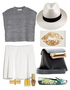 A pop of gold today by katheeroux on Polyvore featuring polyvore, fashion, style, MANGO, Zara Home, Chloé, Alexander McQueen, Borsalino, Essie, River Island and Oliver Gal Artist Co.