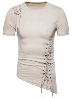 Asymmetric Slant Hem Criss Cross T-shirt Asymmetric Slant Hem Criss Cross T-shirt Mens Kurta Designs, Style Masculin, Mens Designer Shirts, Casual Outfits, Fashion Outfits, Men Style Tips, Look Cool, Shirt Style, Men Dress
