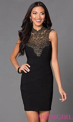 High Neck Lace Emerald Sundae Little Black Dress at PromGirl.com