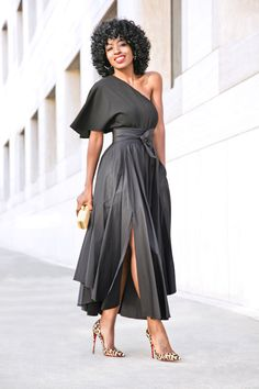 Black one shoulder dress