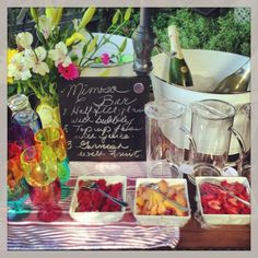 bridalshowerbrunch | Mimosa bar for a bridal shower brunch | The Year of the Wedding