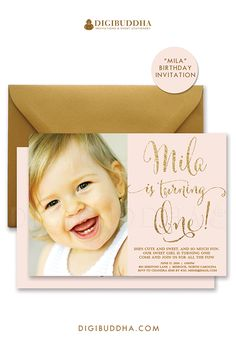 Blush pink and gold glitter sparkle sprinkle first birthday invitations in blush printable birthday invitations or choose ready made printed invites. Gold shimmer envelopes also available, only at digibuddha.com