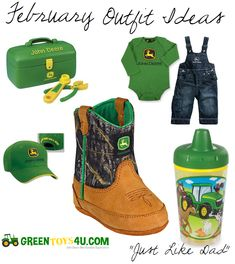 Got A Little Farm Hand Running Around The House? Make Him Just Like Dad With All Of Our John Deere Toddler Products At GreenToys4U.com! Little Boy country outfit idea.