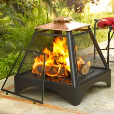 Outdoor fire with copper roof