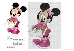 Disney Minnie back to school free cross stitch pattern 66x99