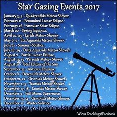 Keep your eyes peeled throughout 2017 for these Star Gazing Events✨