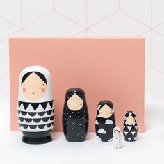 Monochrome loveliness! These wooden nesting dolls are just gorgeous and back in stock once again at www.peanutandpip.com.
