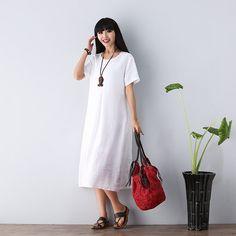 Round Neck Short Sleeve Maxi Dress   Linen  dress for от deboy2000