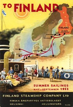 Vintage travel poster, Finland Steamship Company (1952)