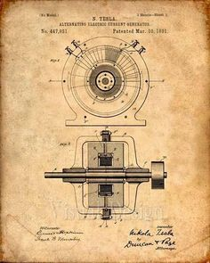 This is a print of the patent drawing for a Nikola Tesla Generator patent in 1891 The original patent has been cleaned up and enhanced to create an attractive display piece for your home or office. This is a great way to put your interests and hobbies on display. Wonderful gift idea as #patentdrawing