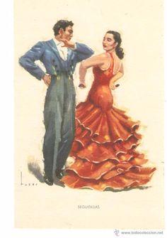 Spanish Dancer, Spanish Woman, Spanish Ladies, Spanish Costume, Flamenco Dancers, Beautiful Costumes, The Beautiful Country, Cultural, Vintage Travel Posters