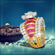 You don't need an occasion to #gift this exquisite and graceful #GoldRing studded with uncut #Diamonds and hand-picked #Ruby. A design that makes one feel #grand and #classy. #SunarJewelsIndia