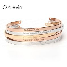 22bcc4196704 ANY LANGUAGE Inspirational Message Personalized Bracelet Initial Engraved  Name Cuff Custom Bracelet   Bangle for woman