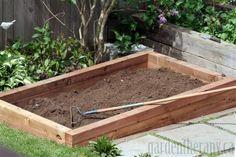 Cedar frame rasied vegetable garden bed via Garden Therapy #garden