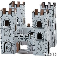Color-A-Castle Playset: King's Castle: Let your imagination soar while building and designing your own cardboard castle! Made of high quality, recyclable cardboard, this sturdy toy is easy to build, fun to decorate and wonderful to play with. All interlocking pieces are pre-cut, pre-punched and can be put together without glue or scissors. This magnificent King's castle encourages creativity and strengthens fine and gross motor skills. #MindWareToys