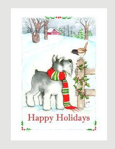 Schnauzer Christmas Cards, Box of 16 Cards with 16 White Envelops Boxed Christmas Cards, Xmas Cards, Christmas Art, Black Christmas, Christmas Paintings, Schnauzer Puppy, Miniature Schnauzer, Schnauzers, German Shepherd Dogs