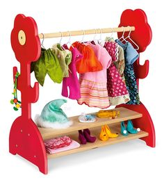 Clothing Rack for Doll clothes! So cute. Wonder if the really little ones could use it for their dress up clothes?
