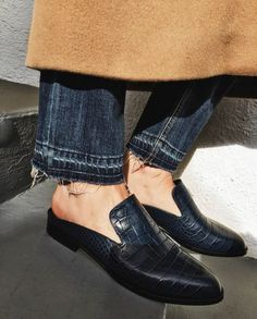 Mules and frayed denim