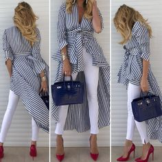Women'S spring striped shirt dress w/belt+white pants+red toe high heels basic shoes Chic Outfits, Fashion Outfits, Summer Outfits, Love Fashion, Womens Fashion, Striped Shirt Dress, Casual Chic, African Fashion, Ideias Fashion