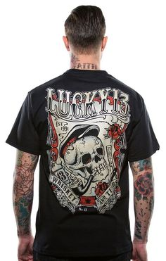 Lucky 13 Whiskey & Tears Tee Men's Black Short Sleeve Cotton Graphic T-Shirt #Lucky13 #GraphicTee