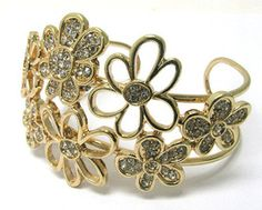 Crystal Deco Metal Wire Flower Cuff Bangle   $9.99