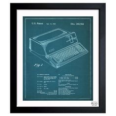 Perfect hanging in your home office or study, this patent drawing-inspired canvas print features an '80s computer motif.   Product: ...
