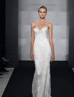 Mark Zunino -Sweetheart Sheath Wedding Dress  with Empire Waist in Beaded Lace. Bridal Gown Style Number:32593576