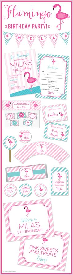 Flamingo theme party! Invitations, water labels, stickers, DIY party printables and lots more from Chickabug.com