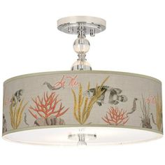 "La Mer Coral Giclee 16"" Wide Semi-Flush Ceiling Light -"